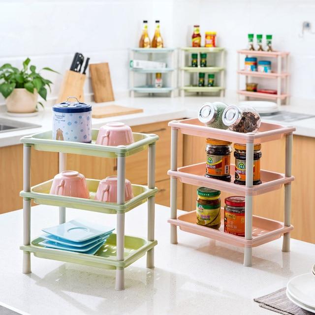 Superbe DIY 3 Layers Plastic Desk Storage Rack Makeup Cosmetic Organizer Wall Corner  Shelf Kitchen Bathroom Accessories
