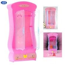 Pink Closet Wardrobe ForBarbie Doll Girls font b Toy b font Princess Bedroom Furniture TwFi
