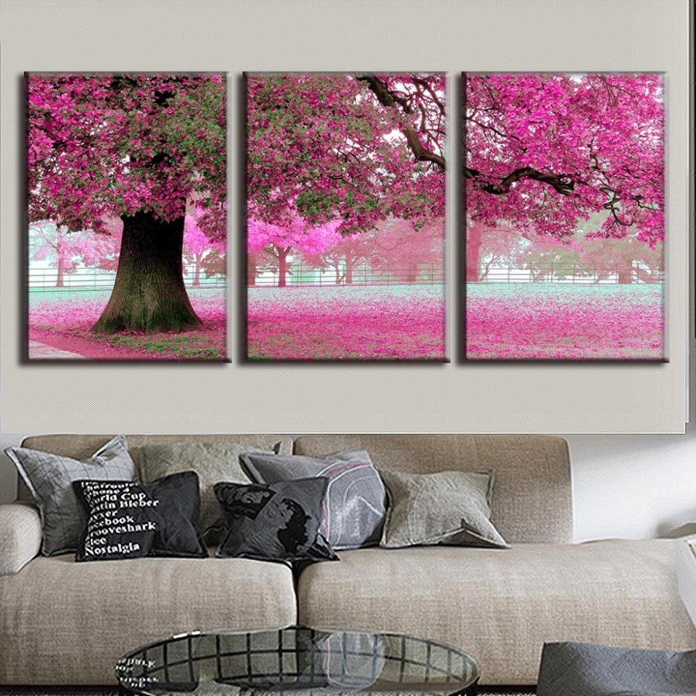 3 set discount framed paintings modern landscape strewn petal pink canvas wall art canvas picture - Wholesale Art Frames