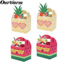 OurWarm Pineapple Watermelon Party Supplies Candy Gift Box Paper DIY Hawaiian Luau Birthday Decor Fruit Boxes Summer