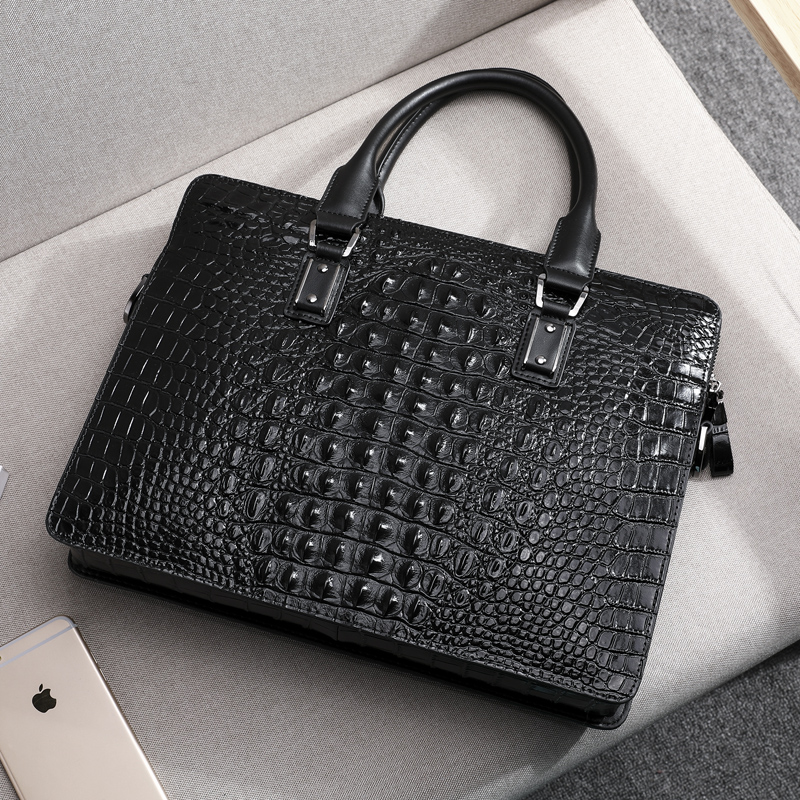 Wmnuo New Briefcase Bag Men Handbag Crocodile Pattern Cow Leather Man Shoulder Messenger Computer Bag Men Crossbody Business Bag - 5
