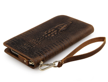 JMD Crazy Horse Leather Card Case Embossed Alligator Pattern Brown Notecase Long Wallet Clutch Bag 8068R