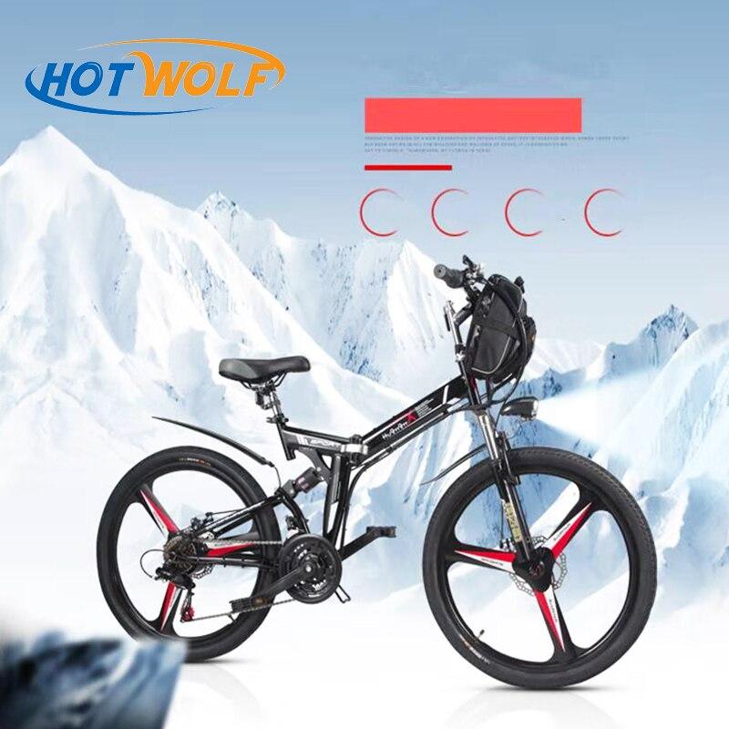 26 pouce électrique vélo 48V. 10.8AH au lithium batterie électrique de vélo de montagne intégré roue 350 w électrique vélo pliant