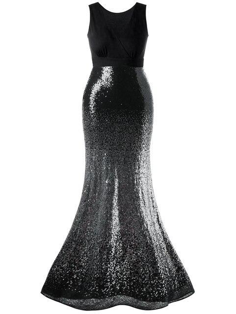 e4ffd2750ba Gamiss Women Plus Size Maxi Fishtail Dress Maxi Sparkly Prom Mermaid Dresses  Sleeveless Sexy V-Neck Extra Long Female Vestidos free shipping worldwide