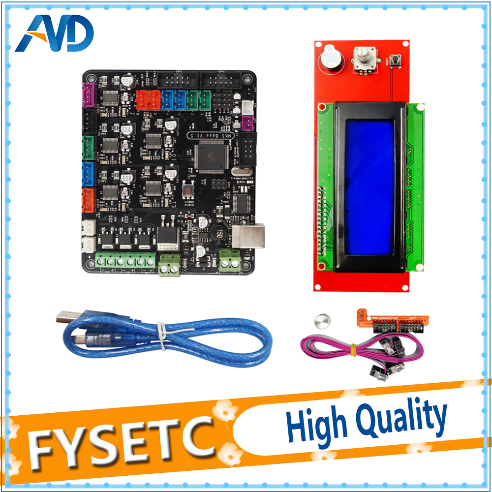 MKS Base V1.5 3D Printer Control Board With USB Mega 2560 R3 Motherboard RepRap Ramps1.4 + 2004 LCD Screen Display Controller ramps 1 4 control board mega 2560 r3 panel 2004 lcd display screen kit for 3d printer