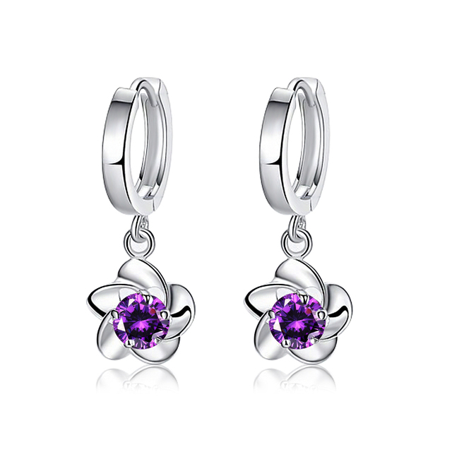2 Colors Fashion Earrings Jewelry Purple Cubic Zirconia Earring White Gold Color Stud For Women