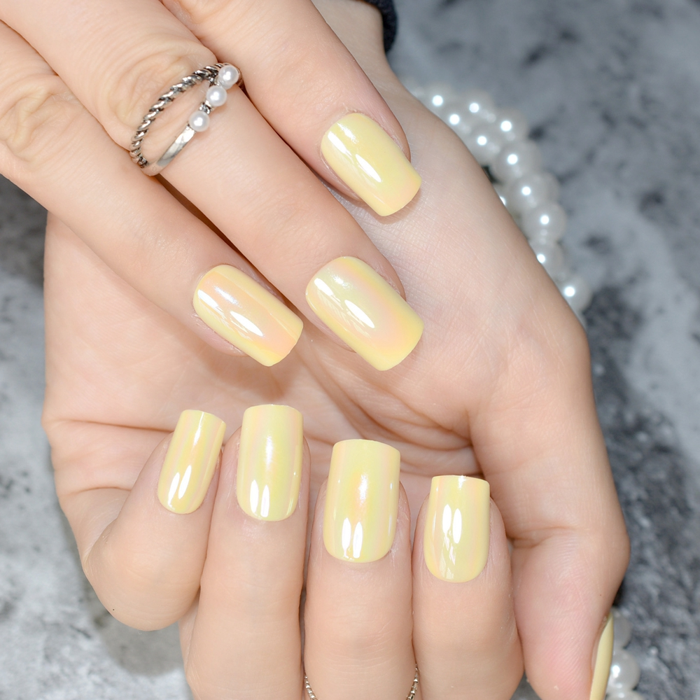 Chameleon Mirror False Nails Light Yellow Chrome Medium Size Square Plastic Full Cover 24pcs Kit In From Beauty Health On Aliexpress