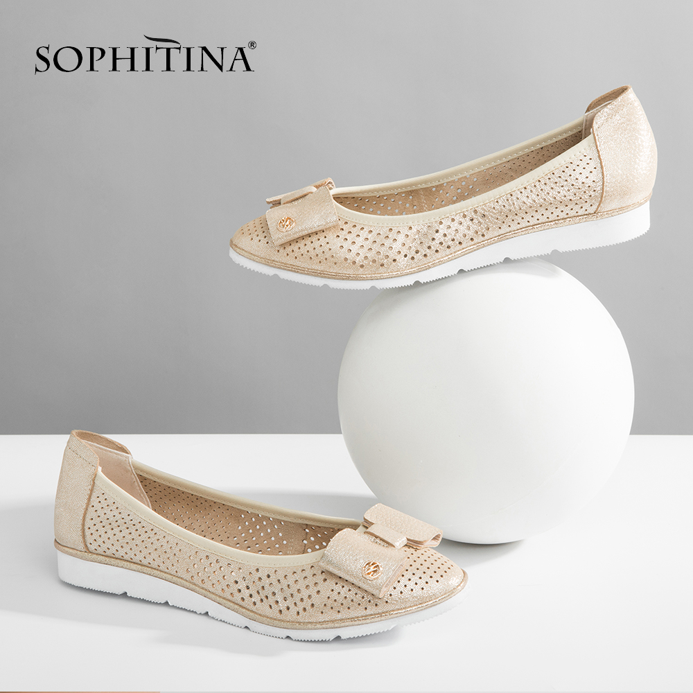 SOPHITINA Mesh Sheepskin Boat Shoes High Quality Handmade Soft Comfortable Casual Flats Round Toe Slip on