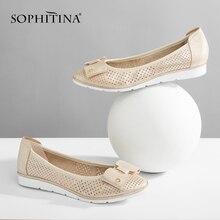 SOPHITINA Mesh Sheepskin Boat Shoes High Quality Handmade Soft Comfortable Casual Flats Round Toe Slip-on Autumn Girl P35