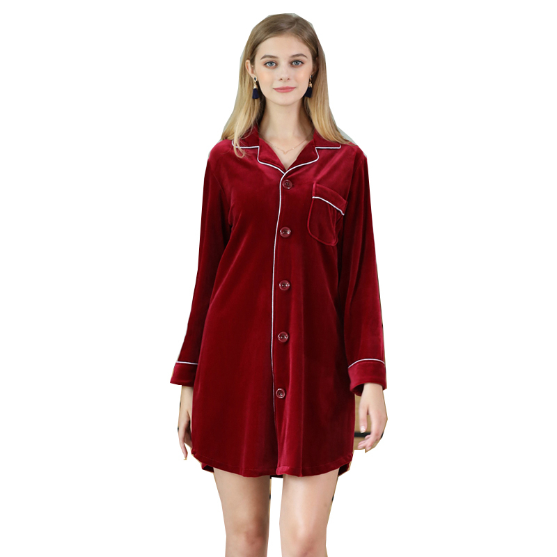 Women Velour   Nightgowns     Sleepshirts   2017 Sexy Long Sleeve Solid Sleep Shirt Dress Casual Woman Vintage Sleepwear Dress