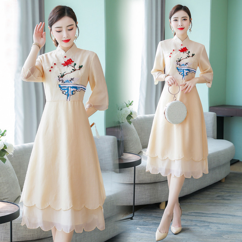 2019 verano las mujeres vestido de noche cheongsam mejorada elegante dama de honor boda qipao noble baile de graduación vestidos fiesta vestido de chino - 2