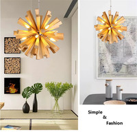 L54 Simple fashion LED dandelion wood chandelier living room restaurant bedroom real wood firework chandeliers,Support drop ship