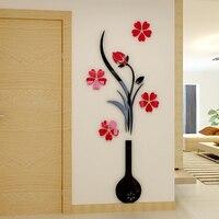 Wazon kwiat Śliwy 3d trójwymiarowy Kryształ Akrylowe naklejki ścienne pokój Dzienny sofa sypialnia TV tło dekoracji