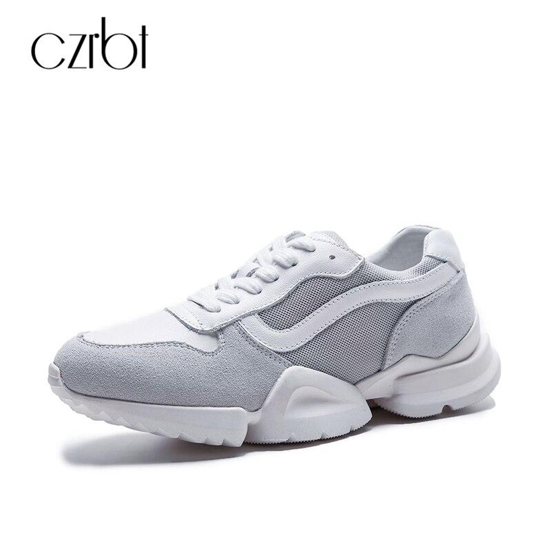 CZRBT Весна Натуральная кожа Женская обувь плоские туфли на платформе женщины лаконичный свободного покроя обувь дамы большой размер плоские туфли
