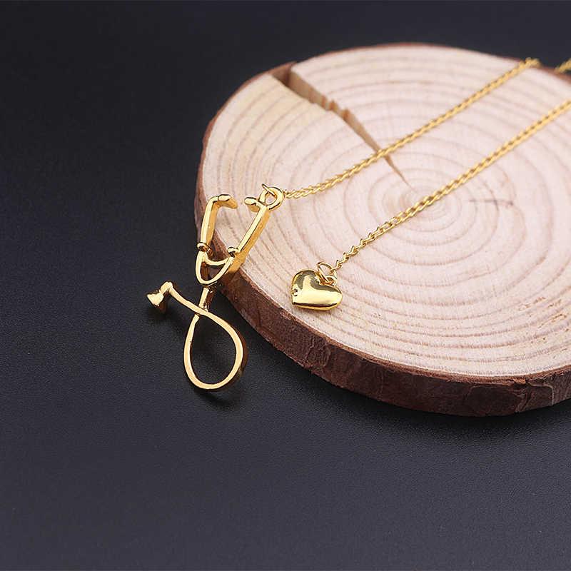 RJ новейшее розовое золото стетоскоп Лариат сердце кулон ожерелье 100 языков я люблю вас для врача для Медсестры Медицинский ожерелье ювелирные изделия