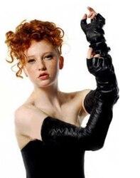 Frauen 60cm(23.6 ) lange top echte schafe leder fingerlose keine finger oper handschuhe schwarz