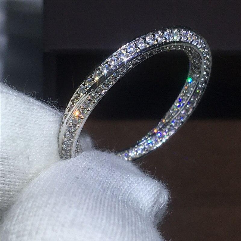 AAAAA אוהבי תכשיטי צלב פייב הגדרת 925 טבעת כסף טבעות זירקון Cz סטון אירוסין טבעת נישואים לנשים כלה