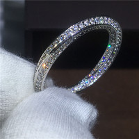 Cross Jewelry Lovers 925 Sterling Silver Ring Pave Setting AAAAA Zircon Cz Stone Engagement Wedding Band