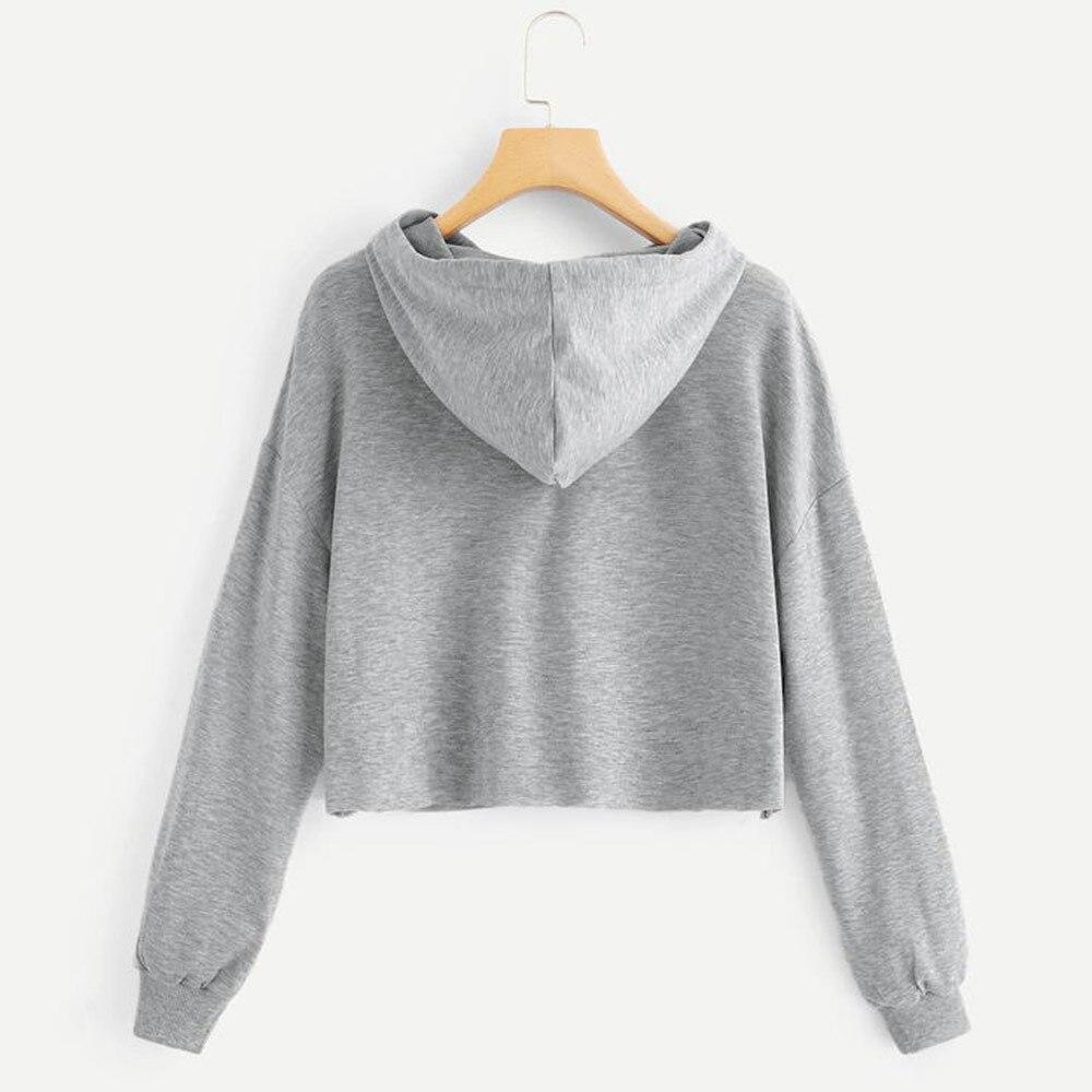 Hoodies Sweatshirt Women Harajuku Streetwear Crop Top Hoodie 2018 Autumn Letter Kawaii Women Fashion Korean Clothes