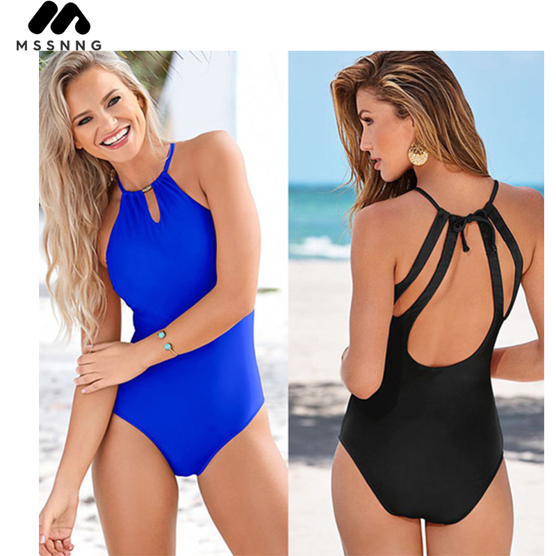 MSSNNG 2018 New Women Sexy Backless One-Piece Suits Summer Solid Color Bandage Bathing Suits Beach Wear Gils Bikini Swimsuits