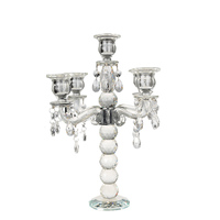 H&D K9 Crystal 5 Branch Crystal Candle Holders Centerpieces w/ Prisms Tall Candelabra For Wedding Decoration 14.3'' Candlestick