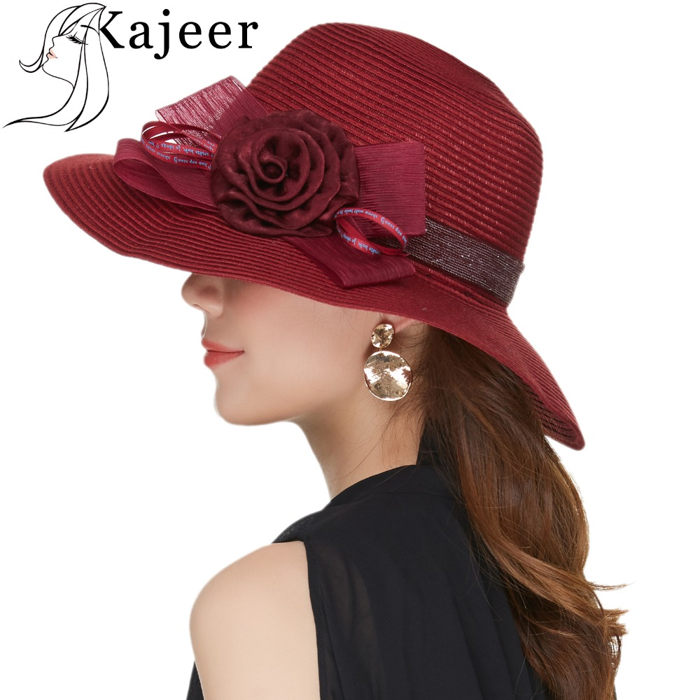 Kajeer Wine Red Boho Style Casual Summer Hat For Women Big Bows Ladies  Floppy Sun Beach Straw Hat Wide Brimmed Sun Hat Female 280a4c26021