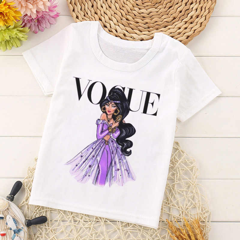 Vogue Nouveauté Princesse Imprimer Enfants T Shirt Drôle Kawaii Dessin Animé Haut Pour Fille Harajuku Blanc Col Rond Manches Courtes Garçons T Shirt