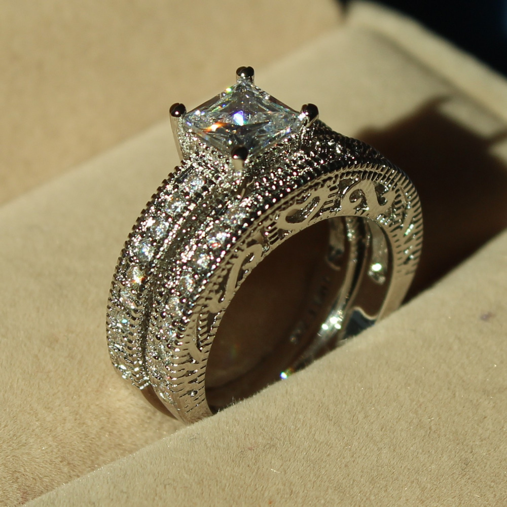 Choucong Antique Jewelry Stone 5a Zircon Stone 10kt White Gold Filled 2  Wedding Band Ring Set