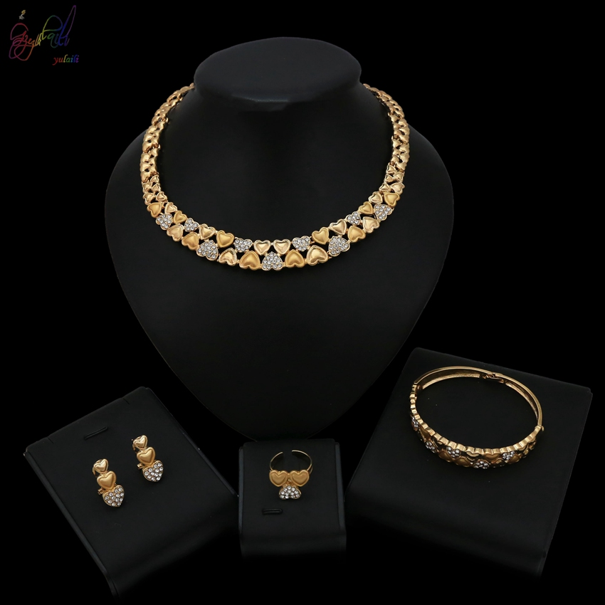 Yulaili Crystal Warm Heart Shape Love Design Gold Color Jewelry Set For Women Wedding BridalYulaili Crystal Warm Heart Shape Love Design Gold Color Jewelry Set For Women Wedding Bridal