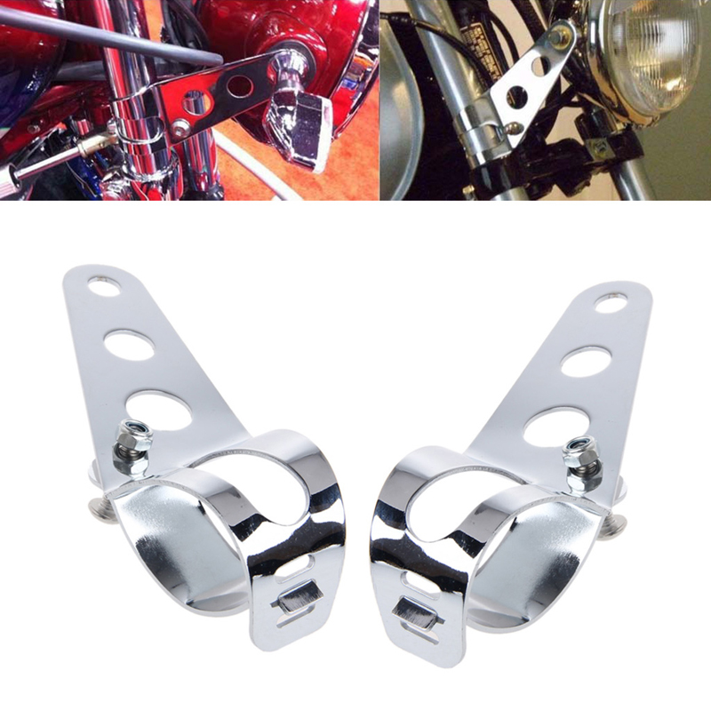 Image 4 - 2 Pcs Universal 33 45mm Motorcycle Headlight Mount Bracket Fork Ears For Bobber Cafe Racer High Quality Sliver-in Headlight Bracket from Automobiles & Motorcycles