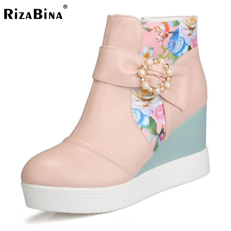 RizaBina Size 33-42 Ladies Thick Platform High Heels Wedges Ankle Boots Women Floral Side Zip Shoes Women Winter Warm Botas eiswelt women zip ankle boots heels women soft leather platform shoes female wedges shoes zqs185