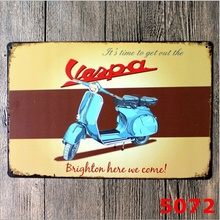 Cartel de hojalata vintage decoración de pared Retro Metal Bar póster de garaje motocicleta Vespa 20x30CM