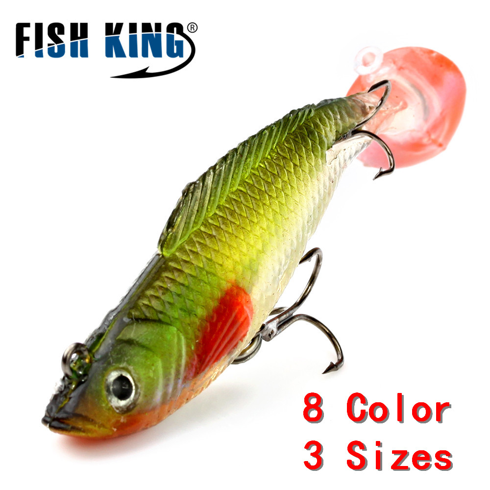 FISH KING 1 PC 3D Eyes 8/10/12CM 8 Color Lure Soft Bait Jig Fishing Lure With Lead Head Fish Swimbait Treble Hook Fishhook Fishi 5pcs lot 3d eyes lead fishing lures fishing shad fishing worm swimbaits jig head deformation of aluminum soft lure fly fish bait