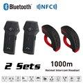 Novo 2 Conjuntos 1000 M BT Bluetooth Capacete Da Motocicleta Intercom Interfone Headset com FM NFC Functon + L3 Controle Remoto