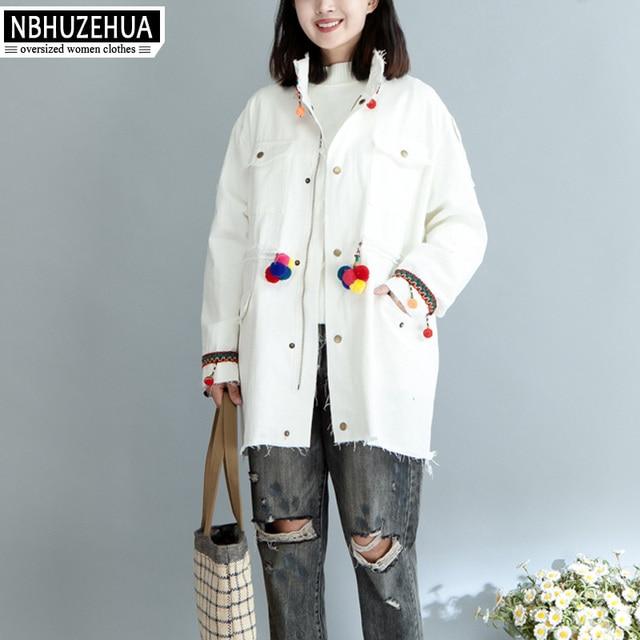 66c1b33ff4 NBHUZEHUA T607 4XL 5XL 6XL Ethnic Style Embroidery Trench Coat Women Plus  Size Casual Womens Windbreakers Black White Long Coat