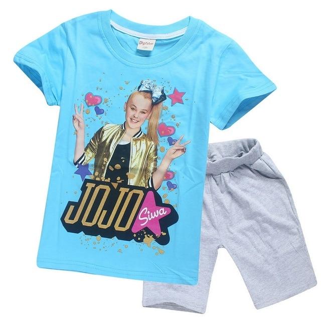 28837b26b102 2018 Summer Jojo Siwa Cotton Clothing Set Tracksuits for Girls Baby ...