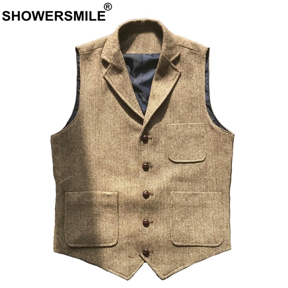 Poches Vestes Printemps Brown Grey Vintage Chevrons 3xl Sans Manches drak Showersmile Hommes Mâle Automne Gris Tweed Light Gilet Laine Foncé Multi lK5T1JuFc3