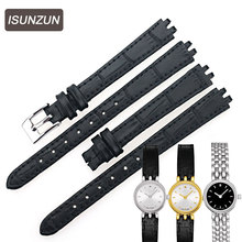 ISUNZUN is suitable for Tissot T058 T058009 Leather Watchband female special Lovely series