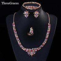 Exquisite Marquise Shape White Gold Plated Multi Color Necklace And Earrings Bracelets Ring Big African Party