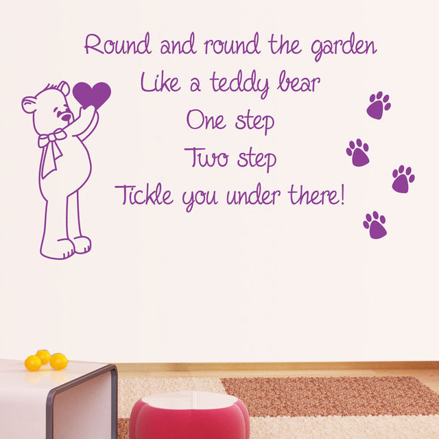 Hwhd New Carton Round And The Garden Nursery Rhyme Wall Sticker Art Quote Vinyl