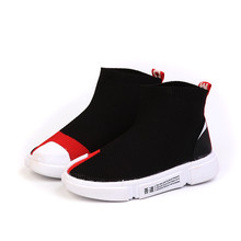 2019 spring and autumn new children's sports shoes in the big children flying knit socks shoes boys and girls feet shoes fall 2019 new breathable casual shoes boys and girls color matching sports shoes children flyknit socks and shoes double color