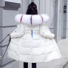 2019 New Down Jacket Women Winter Warm Parka large Outwear Long Cotton Coat with big fur collar Women slim Thicken Parka Jackets new cotton jacket men warm winter outwear coat fur collar hooded parka fashion thicken coats