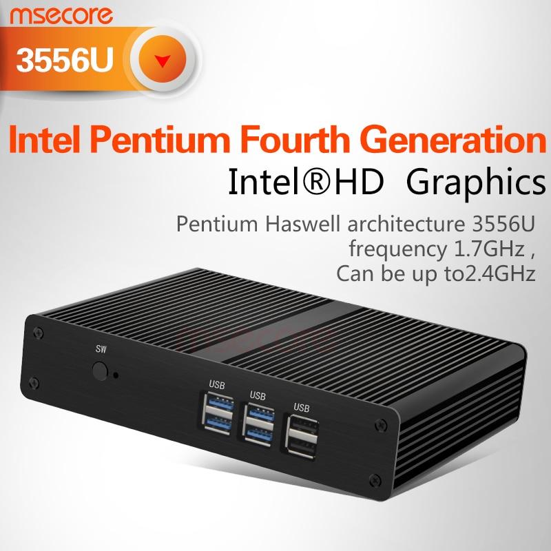 Fanless Intel Pentium 3556 mini pc Windows 10 stick pc NUC barebone system Nettop Linux Desktop