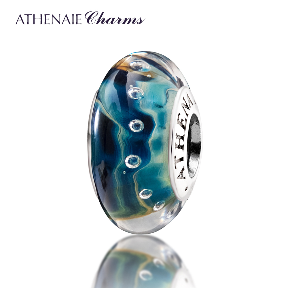 ATHENAIE Genuine Murano Glass 925 Silver Core River Charms Beads Fit All European Bracelets Fine Jewelry Color Blue