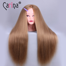 Training Mannequin Head With Hair 60cm Synthetic Fiber Cosmetology Hairdressing Training Head Dolls Manikin Heads Hairstyles enema and assisted defecation training simulator nursing manikin