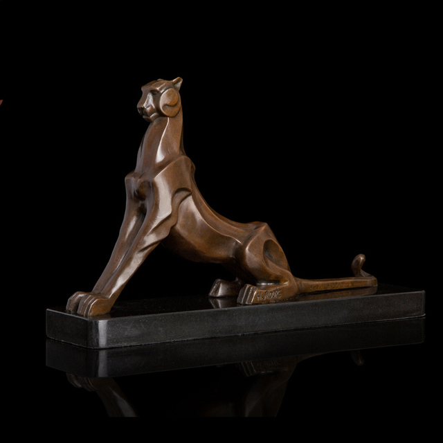 ATLIE BRONZES Art Nouveau Abstract  Leopard Statue  Bronze Cheetah Figurines  Animal Estatua Home Decor