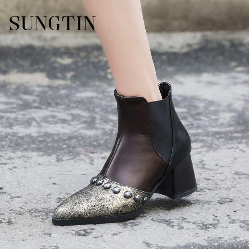 Sungtin Fashion Rivet Pointed Toe Party Boots High Heel Women Ankle Boots Winter Big Size Warm Short Riding Boots Ladies Booties цена 2017