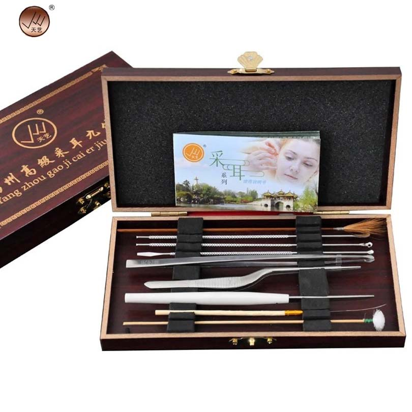 High Quality Ear Wax Removal Tool Ear Cleaner Hearing Pick Care Kit With Wood Case