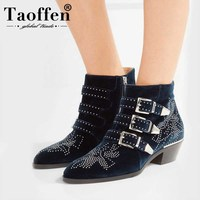 Taoffen Women Genuine Leather Motorcycle Boots Women Suede Pointed Snow Boots Rivet Shoes Stud Boots Woman Footwear Size 34 42