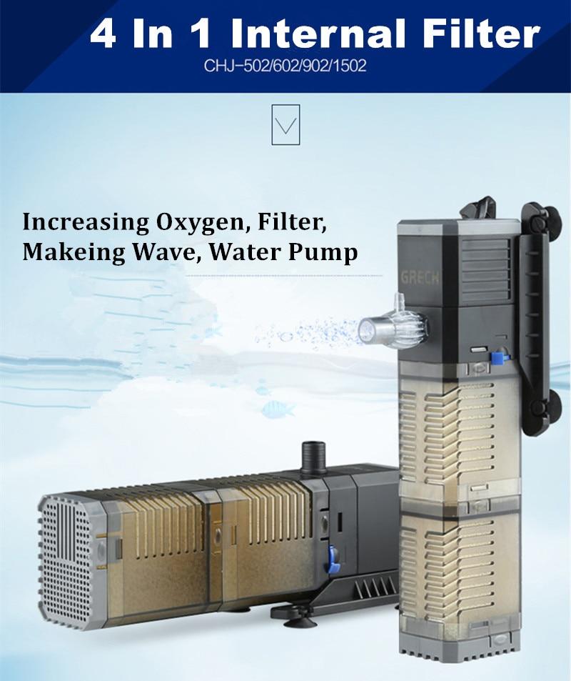 Super 4 In 1 Sunsun Internal Aquarium Filter Pump Fish Tank Multifunction Wave Maker Water Circulation Air Pump Filter golf wood 5 head cover